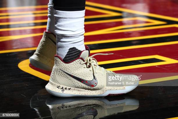 The shoes of Kyrie Irving of the Cleveland Cavaliers in Game One of the Eastern Conference Semifinals against the Toronto Raptors of the 2017 NBA...
