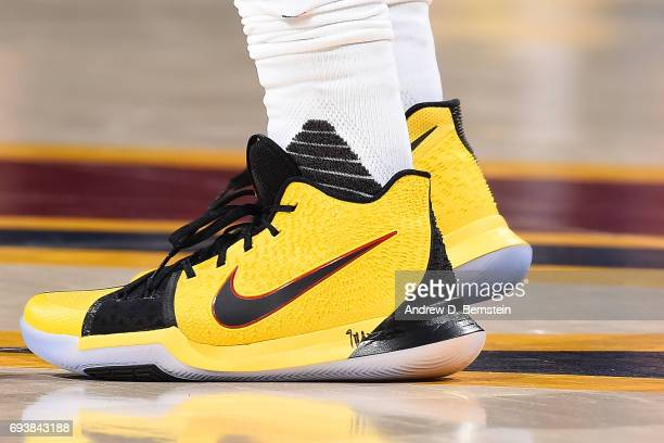 The shoes of Kyrie Irving of the Cleveland Cavaliers in Game Three of the 2017 NBA Finals against the Golden State Warriors on June 7 2017 at Quicken...