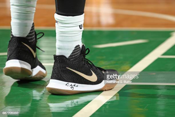 The shoes of Kyrie Irving of the Cleveland Cavaliers in Game Two of the Eastern Conference Finals against the Boston Celtics during the 2017 NBA...