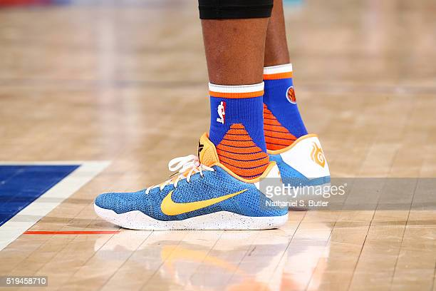 The shoes of Langston Galloway of the New York Knicks are seen during the game against the Charlotte Hornets on April 6 2016 at Madison Square Garden...
