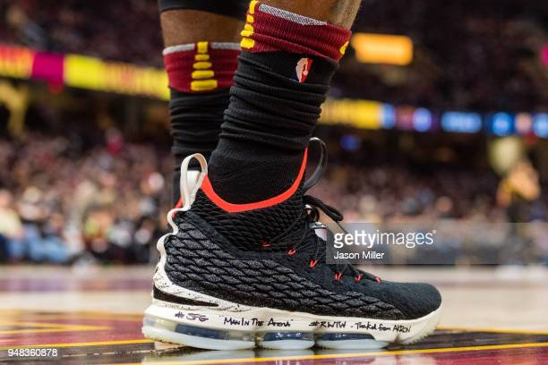 The shoes of LeBron James of the Cleveland Cavaliers against the Indiana Pacers during the first half of Game 2 of the first round of the Eastern...