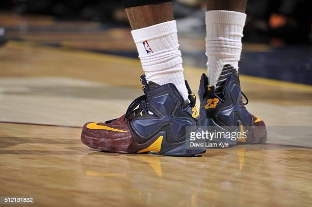 The shoes of LeBron James of the Cleveland Cavaliers are seen during the game against the Charlotte Hornets on February 24 2016 at Quicken Loans...