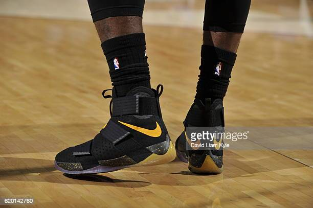 The shoes of LeBron James of the Cleveland Cavaliers are seen during the game against the Houston Rockets on November 1 2016 at Quicken Loans Arena...