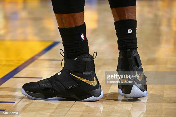 The shoes of LeBron James of the Cleveland Cavaliers are seen in Game Five of the 2016 NBA Finals between the Cleveland Cavaliers and Golden State...