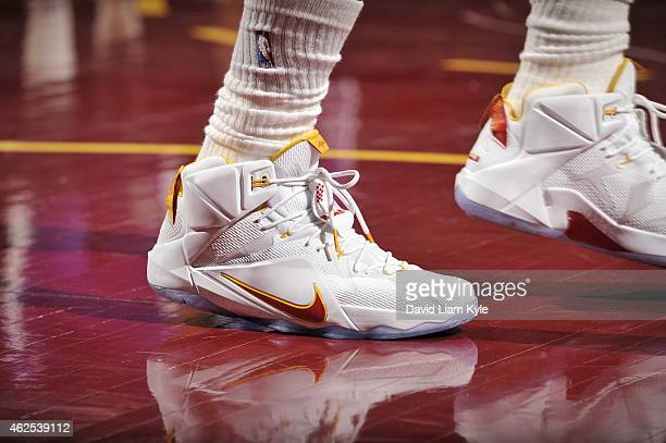 The shoes of LeBron James of the Cleveland Cavaliers as he stands on the court during a game against the Sacramento Kings at The Quicken Loans Arena...