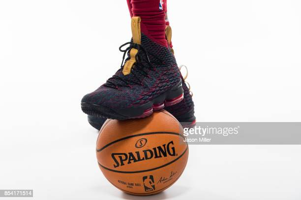 The shoes of LeBron James of the Cleveland Cavaliers at Cleveland Clinic Courts on September 25 2017 in Independence Ohio NOTE TO USER User expressly...