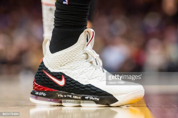 The shoes of LeBron James of the Cleveland Cavaliers during the first half against the Washington Wizards at Quicken Loans Arena on April 5 2018 in...