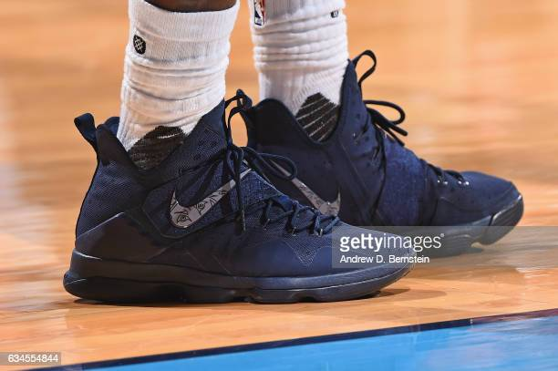 The shoes of LeBron James of the Cleveland Cavaliers during the game against the Oklahoma City Thunder on February 9 2017 at Chesapeake Energy Arena...