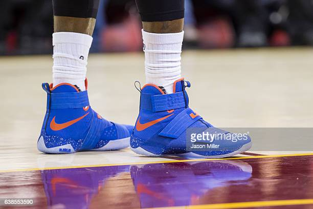 The shoes of LeBron James of the Cleveland Cavaliers on the court during the first half against the Miami Heat at Quicken Loans Arena on December 9...