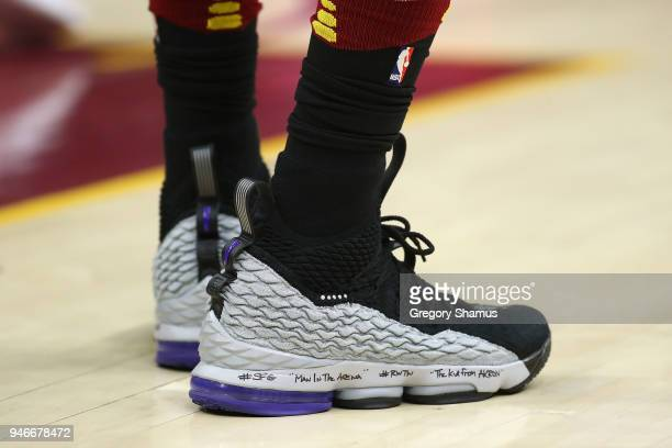 The shoes of LeBron James of the Cleveland Cavaliers while playing the Indiana Pacers in Game One of the Eastern Conference Quarterfinals during the...