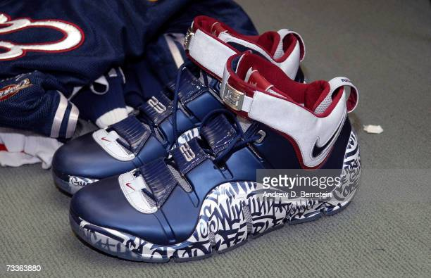 The shoes of LeBron James of the Eastern Conference before the 2007 NBA All-Star Game on February 18, 2007 at the Thomas & Mack Center in Las Vegas,...