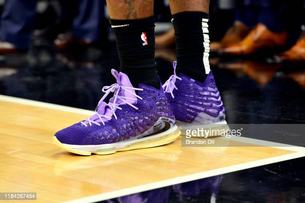 The shoes of LeBron James of the Los Angeles Lakers are seen during the game against the Memphis Grizzlies at FedExForum on November 23 2019 in...