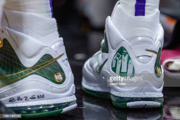 The shoes of LeBron James of the Los Angeles Lakers during the second half against the Cleveland Cavaliers at Quicken Loans Arena on November 21 2018...