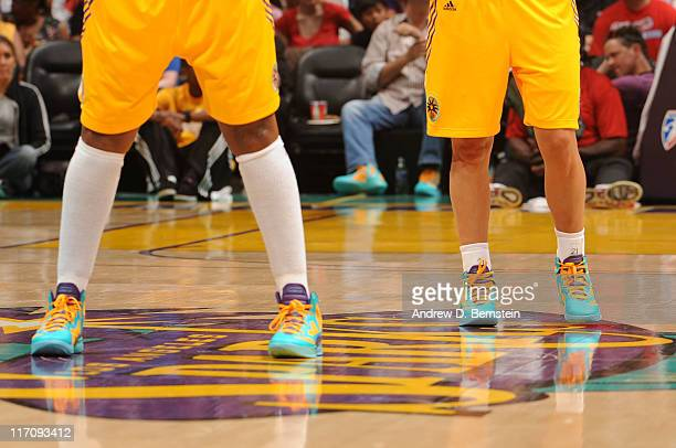 The shoes of Los Angeles Sparks players are shown during a game against the New York Liberty at Staples Center on June 21 2011 in Los Angeles...