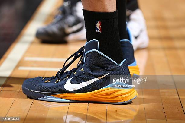The shoes of Marc Gasol of the Memphis Grizzlies as he stands on the court during a game against the Minnesota Timberwolves on February 6 2015 at...