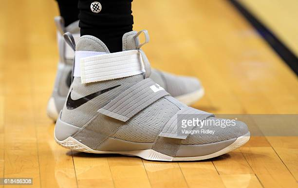 The shoes of Marcus Morris of the Detroit Pistons during the second half of an NBA game against the Toronto Raptors at Air Canada Centre on October...