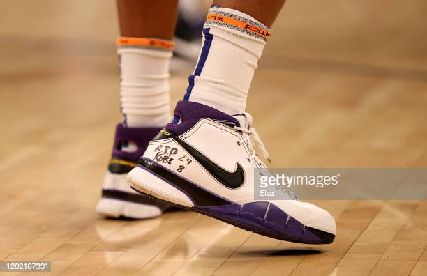 The shoes of Marcus Morris Sr #13 of the New York Knicks are seen during a free throw at Madison Square Garden on January 26 2020 in New York CityLos...