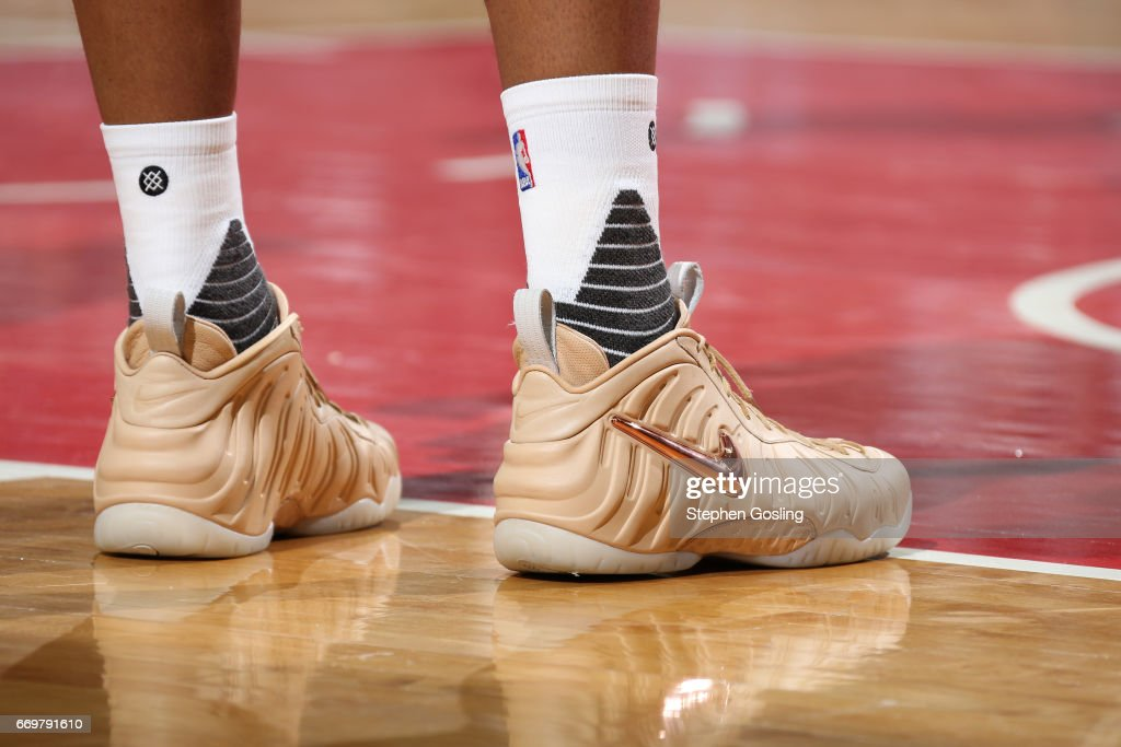 The shoes of Markieff Morris #5 of the Washington Wizards during the Eastern Conference Quarterfinals game against the Atlanta Hawks during the 2017 NBA Playoffs on April 16, 2017 at Verizon Center in Washington, DC.