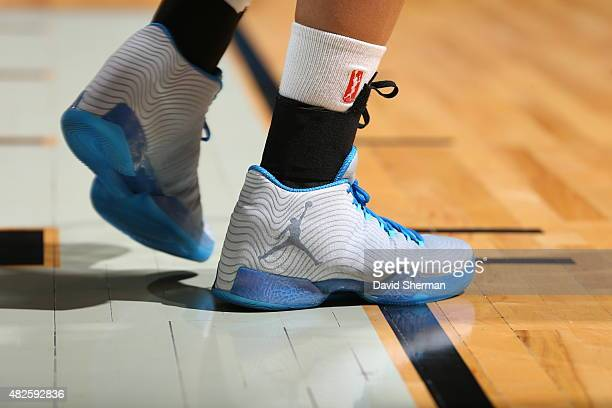 The shoes of Maya Moore of the Minnesota Lynx are seen during the game against the Atlanta Dream on July 31 2015 at Target Center in Minneapolis...