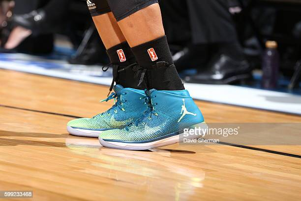 The shoes of Maya Moore of the Minnesota Lynx are seen during the game against the Connecticut Sun during a WNBA game on September 4 2016 at Target...