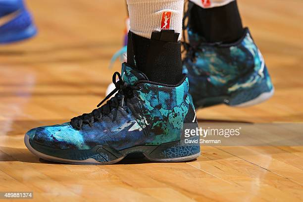 The shoes of Maya Moore of the Minnesota Lynx during the game against the Phoenix Mercury during Game One of the WNBA Western Conference Finals on...