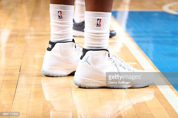 The shoes of Monta Ellis of the Dallas Mavericks as he stands on the court during a game against the Memphis Grizzlies on January 27 2015 at the...