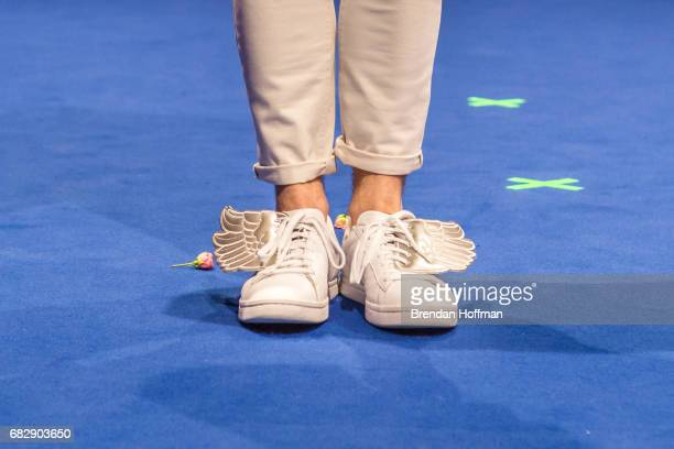 The shoes of Nathan Trent the contestant from Austria as he arrives for the postshow press conference following the second Eurovision semifinal on...