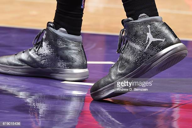 The shoes of Nene Hilario of the Houston Rockets during the game against the Los Angeles Lakers on October 26 2016 at STAPLES Center in Los Angeles...