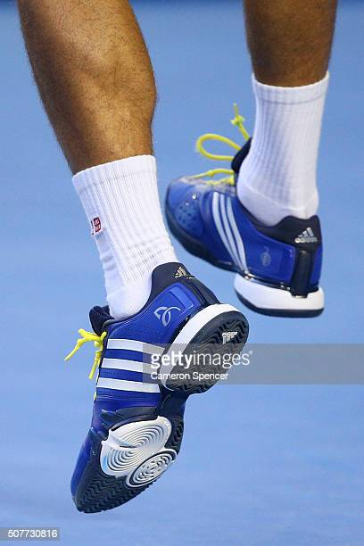 The shoes of Novak Djokovic of Serbia are seen during his Men's Singles  Final match against