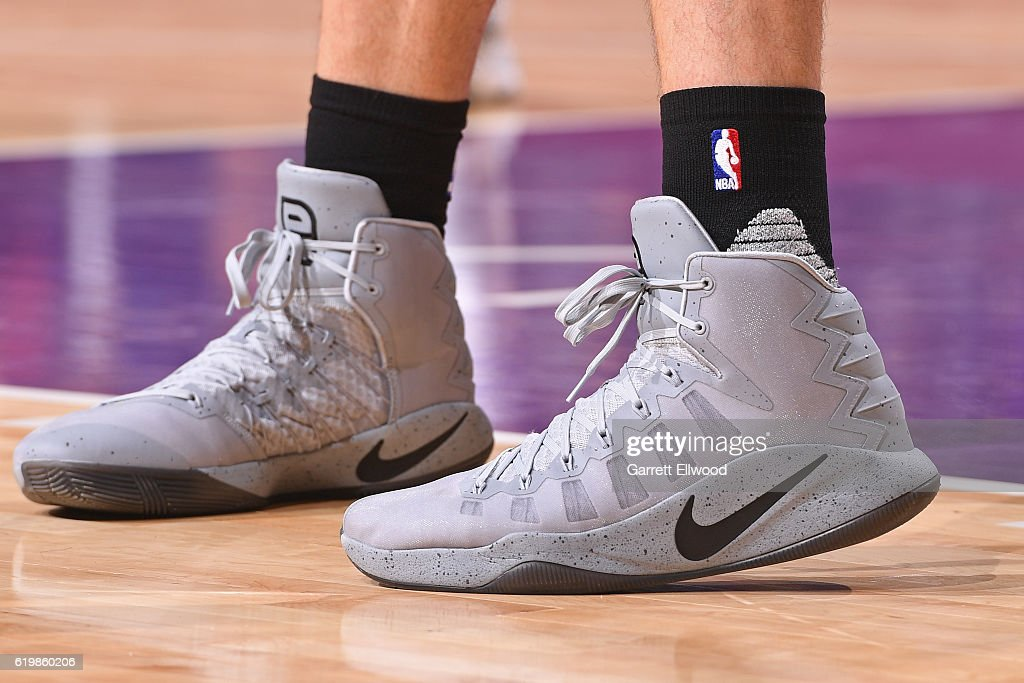The shoes of Pau Gasol #16 of the San Antonio Spurs during the game against the Sacramento Kings on October 27, 2016 at the Golden 1 Center in Sacramento, California.