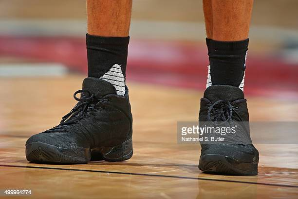 The shoes of Russell Westbrook of the Oklahoma City Thunder during the game against the Miami Heat on December 3 2015 at American Airlines Arena in...