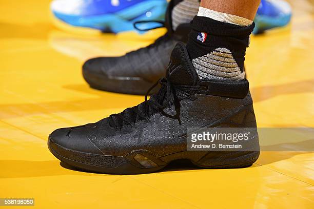 The shoes of Russell Westbrook of the Oklahoma City Thunder during Game Seven of the Western Conference Finals against the Golden State Warriors...