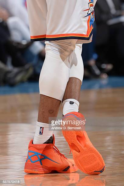 The shoes of Russell Westbrook of the Oklahoma City Thunder during Game Four of the Western Conference Finals against the Golden State Warriors...