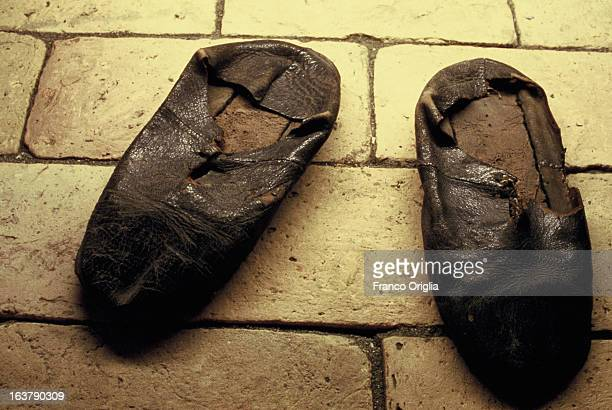 The shoes of Saint Ignatius of Loyola founder of the Jesuits are displayed at the Jesuit General Curia in 1991 in Rome Italy The Argentinian Cardinal...