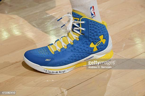 The shoes of Stephen Curry of the Golden State Warriors before a game against the Memphis Grizzlies in Game Two of the Western Conference Semifinals...