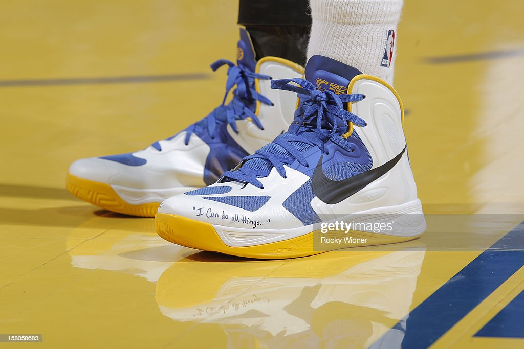 The Shoes Of Stephen Curry Of The Golden State Warriors During A