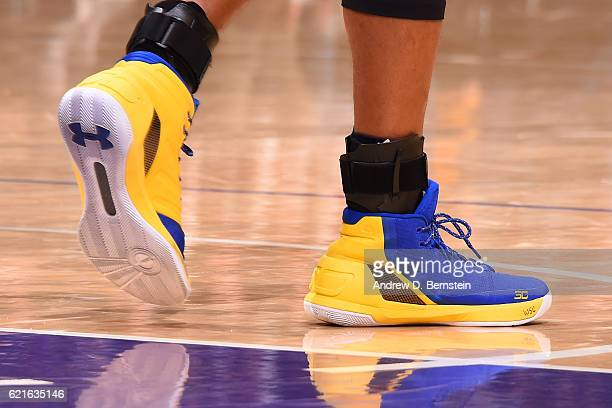 The shoes of Stephen Curry of the Golden State Warriors during the game against the Los Angeles Lakers on November 4 2016 at STAPLES Center in Los...