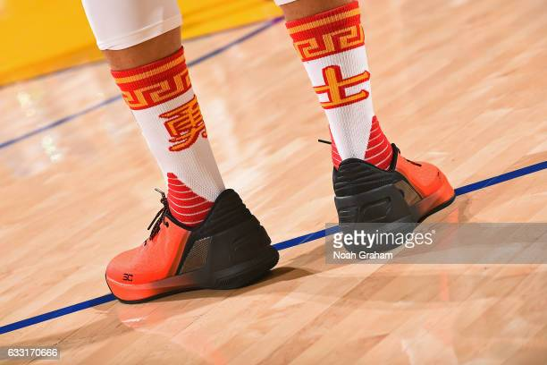 The shoes of Stephen Curry of the Golden State Warriors during the game against the Los Angeles Clippers on January 28 2017 at ORACLE Arena in...