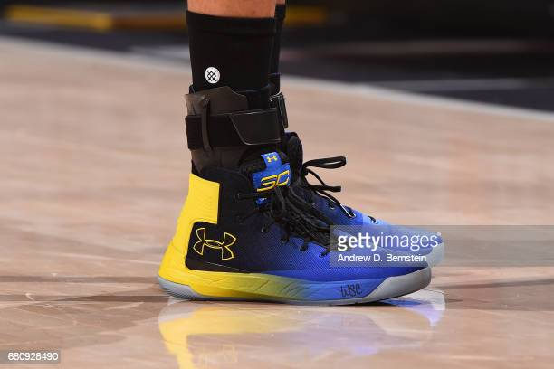 The shoes of Stephen Curry of the Golden State Warriors in Game Three of the Western Conference Semifinals against the Utah Jazz during the 2017 NBA...