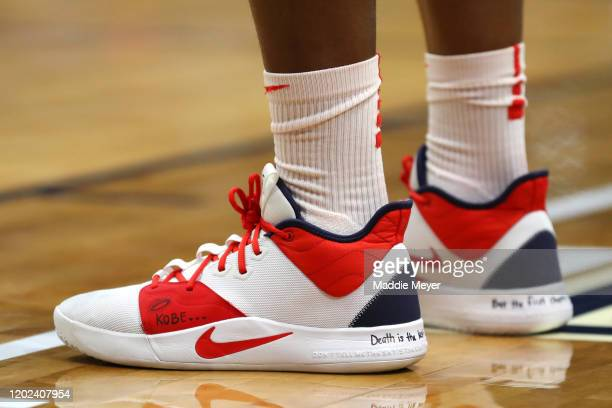 The shoes of Sylvia Fowles of the United States honoring former NBA player Kobe Bryant during USA Women's National Team Winter Tour 2020 game between...
