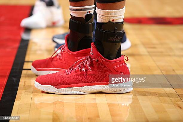 The shoes of Taj Gibson of the Chicago Bulls are seen against the Indiana Pacers on October 8 2016 at the United Center in Chicago Illinois NOTE TO...
