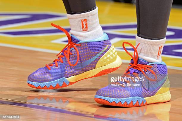 The shoes of Temeka Johnson of the Los Angeles Sparks during the game against the Washington Mystics at STAPLES Center on September 03 2015 in Los...