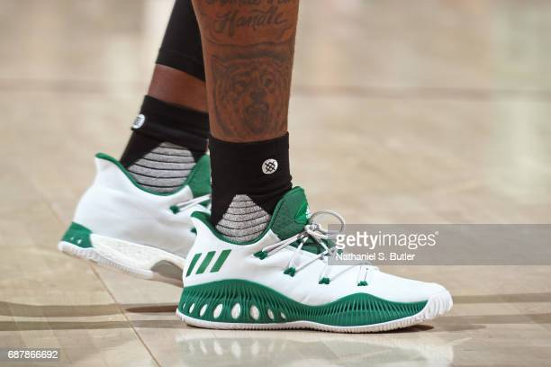 The shoes of Terry Rozier of the Boston Celtics in Game Four of the Eastern Conference Finals against the Cleveland Cavaliers during the 2017 NBA...