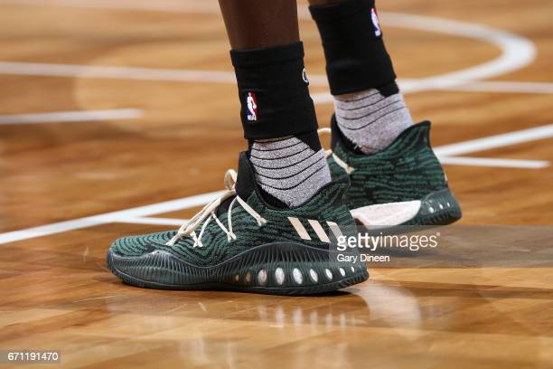 The shoes of Thon Maker of the Milwaukee Bucks during Game Three of the Eastern Conference Quarterfinals against the Toronto Raptors of the 2017 NBA...