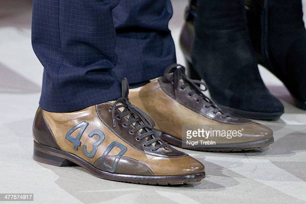 The shoes of Transport and Digital Technologies Minister Alexander Dobrindt are pictured at the 2014 CeBIT technology Trade fair on March 10 2014 in...