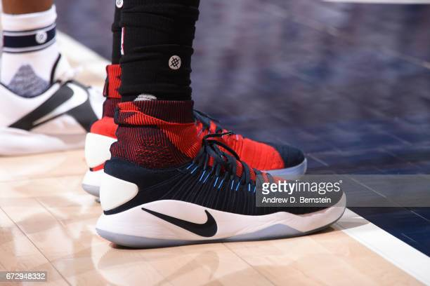 The shoes of Wesley Johnson of the LA Clippers during Game Four of the Western Conference Quarterfinals against the Utah Jazz during the 2017 NBA...
