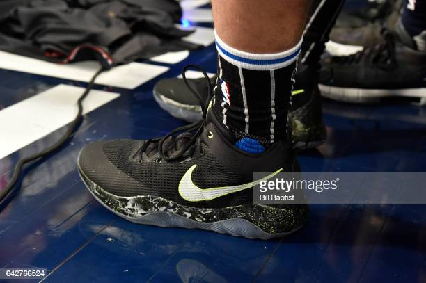 The shoes worn by Aaron Gordon of the Orlando Magic during the Verizon Slam Dunk Contest on State Farm AllStar Saturday Night as part of the 2017 NBA...