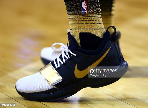 The shoes worn by Alfonzo McKinnie of the Toronto Raptors during the second half of an NBA game against the Portland Trail Blazers at Air Canada...