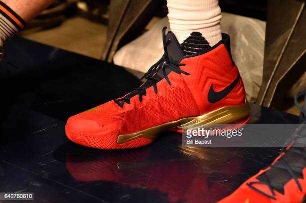 The shoes worn by Anthony Davis of the New Orleans Pelicans during the Taco Bell Skills Challenge on State Farm AllStar Saturday Night as part of the...