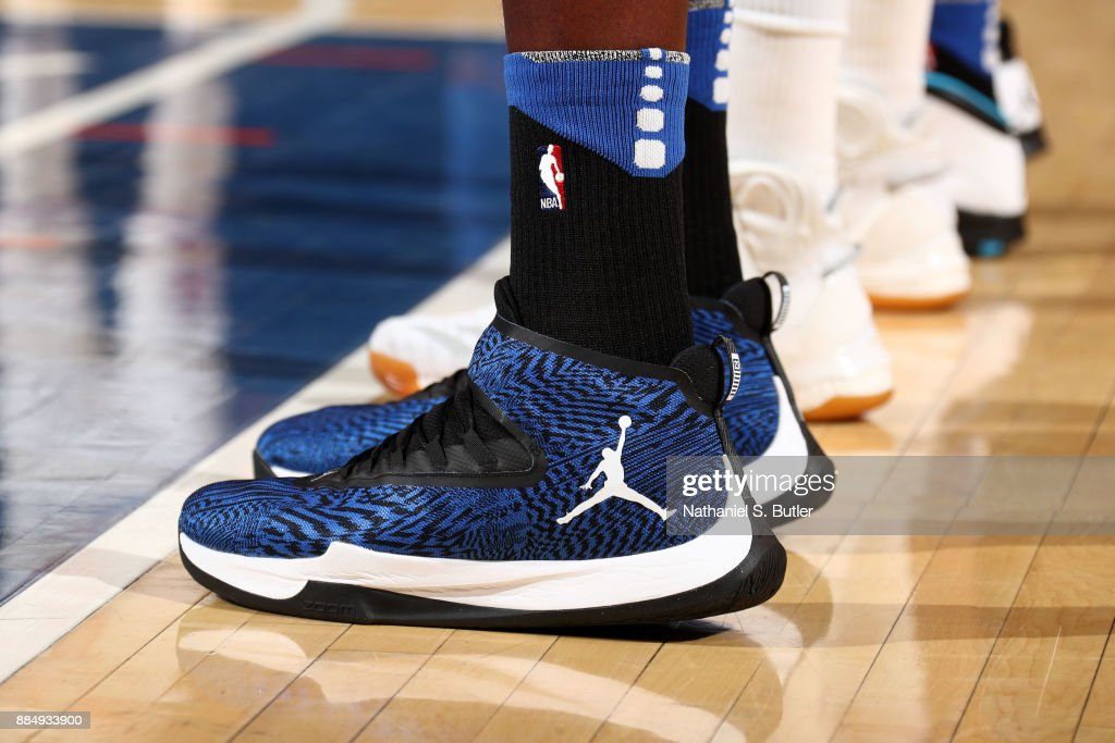 the shoes worn by Bismack Biyombo #11 of the Orlando Magic are seen during the game against the New York Knicks on December 3, 2017 at Madison Square Garden in New York, New York.